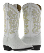 mens real white ostrich skin leather cowboy boots genuine exotic rodeo c... - $289.99