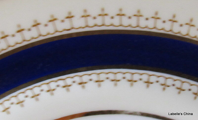 "Aynsley England Pentland 8"" Salad Plate Fine English Bone China Cobalt and Gold"
