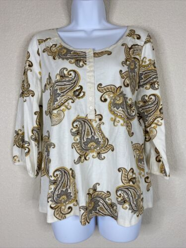 Primary image for St. John's Bay Womens Size PL Ivory Paisley Button Neck Blouse 3/4 Sleeve