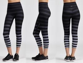 K-Deer Women's Black/Grey Jody Stripe Capri Length Leggings, XS-4XL