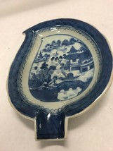 Vintage19th century Chinese small leaf plate cotton blue willow porcelain RARE - $53.95