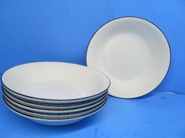 "Crate And Barrel Clasique Black Line White 6 3/4"" Cereal Bowls Set Of 3 ... - $57.82"