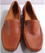 Womens Hush Puppies Brown Leather Loafers Size 9 1/2 M Slip On Shoes - $59.95