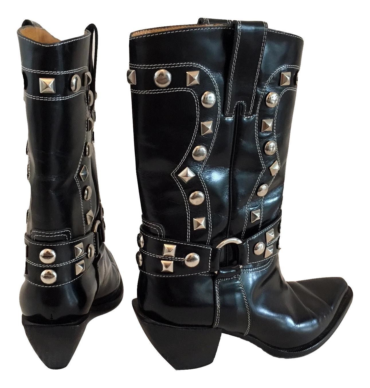 Donald J Pliner Western Couture Collection Black Silver Studded Boots 6