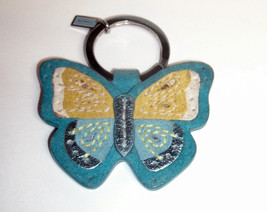 Coach Suede Butterfly Key Fob Keychain Purse Charm 390 Blue Rare - $105.00