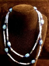 "PRETTY ANTIQUE BLUE  VENETIAN WEDDING CAKE BEADS 35"" NECKLACE - $34.65"