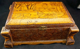 Carved Wooden Tramp Art Jewelry Box Scene with Lady on Top Lift out Tray... - $250.00