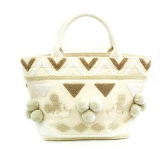 Disney Acomo de Mickey Mouse Embroidery Mini Tote Bag Ivory Handbag - $88.11