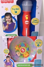 Fisher Price Lot Sing Along Microphone And Mini Drum With Lights Musical Toys - $31.13
