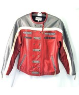 Rose Schott MCMXII 87 Leather Racing Jacket Biker Motorcycle Red Silver ... - $124.88
