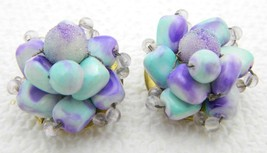 Vintage HONG KONG Gold Tone Purple Blue Swirl Plastic Bead Clip Earrings - $17.82