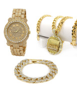 Men's 14k Gold Plated Last Supper Iced Out Bundle Fully Cz Watch & Brace... - $65.33