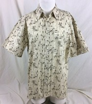 Campia Moda Mens Shirt Medium Ivory Beige Bamboo Hawaiian Tropical - $11.87