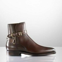 Handmade Men's Brown High Ankle Jodhpurs Monk Strap Leather Boots image 5