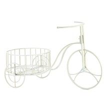 Large Outdoor Planters, White Iron Bicycle Modern Outdoor Planters - $34.99