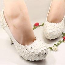 Women Ivory Wedding Low Heel,White Bridal Low Heel Shoes Size UK 2,3,4,5,6,7,8,9 - $38.00