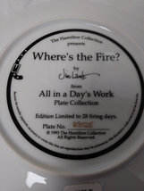 """Where's the Fire """"All in a Day's Work Plate No 2312E  1993  Hamilton Collection  image 2"""