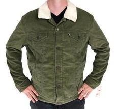 NEW LEVI'S MEN'S BUTTON UP CORDUROY SHERPA FLEECE LINED JACKET GREEN 723360005