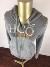 HOLLISTER Graphic Full Zip Up Gray Hooded Sweatshirt Casual Hoodie Youth... - $17.37