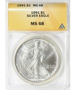 1991 $1 Silver Eagle ANACS MS-68 - $55.00