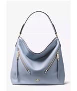 Michael Kors Evie Large Hobo Shoulder Bag Pebbled Leather Color-Pale Blue $328 - $158.00