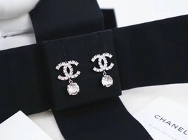 100% AUTH NEW CHANEL LARGE CC Crystal Dangle Drop Earrings image 4