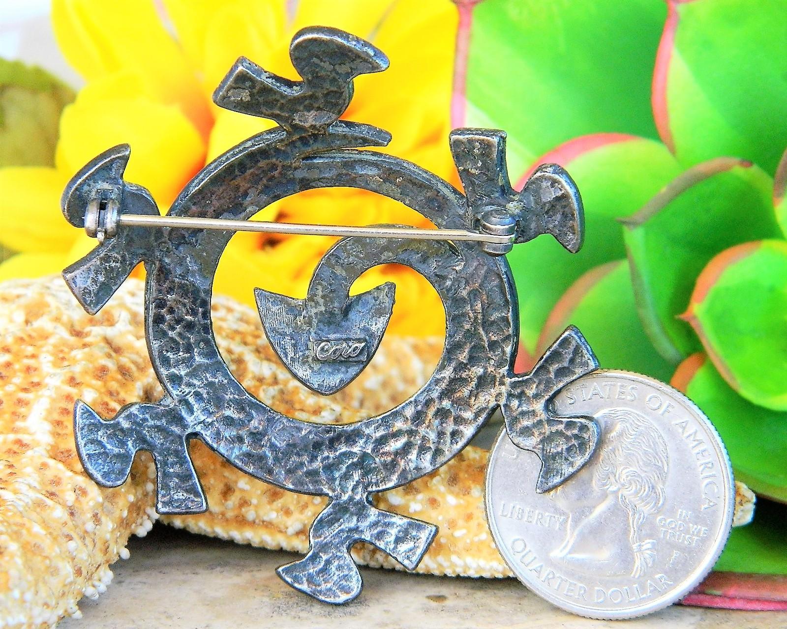 Vintage Coro Coiled Snake Serpent Birds Aztec Circle Brooch Pin Silver