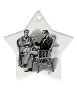 Sherlock Holmes Watson Star Shaped Porcelain Christmas Ornament - $4.72