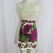 Free People Lost In Paradise Velvet Mini Dress 6 Gold Shimmer Purple Floral - $59.35
