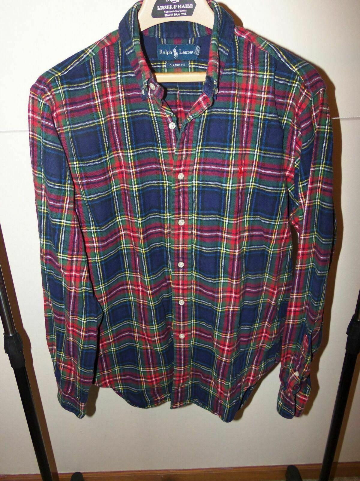 14-16 NWT Ralph Lauren Boys Cotton Plaid Long Sleeve Shirt Red Multi Sz L