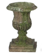 DOLLHOUSE MINIATURE 1:12 SCALE 3 PC LARGE BROWN WITH MOSS URNS SET #A1441B - $11.50