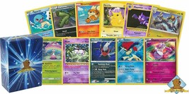 100 Pokemon Cards with 5 Holo Rares! Includes Golden Groundhog Deck Box! - $29.69