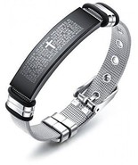 TEMICO Stainless Steel English Bible Lords Prayer Cross Bracelet For Me... - $32.91