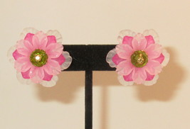 Flower Button Pink & light pink 3-D Earrings Green Crystal Center Stud HC - $10.40