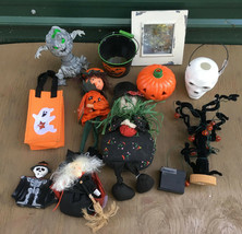 Halloween Decorations Lot witch skull jack o lantern scarecrow misc - $12.99