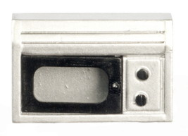 "Microwave Silver Modern Opening Door 2½""T x 1¾""T 1:12 Scale Dollhouse Mi... - $6.99"