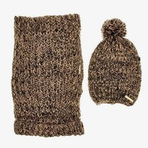 BEBE Women's Knit Scarf & Pom Pom Hat Set with Gift Box Black Multi New ... - $16.78