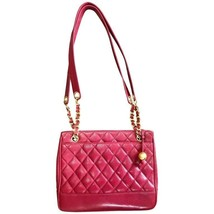 Vintage CHANEL cherry red caviar leather quilted shoulder bag, tote with... - $1,820.00