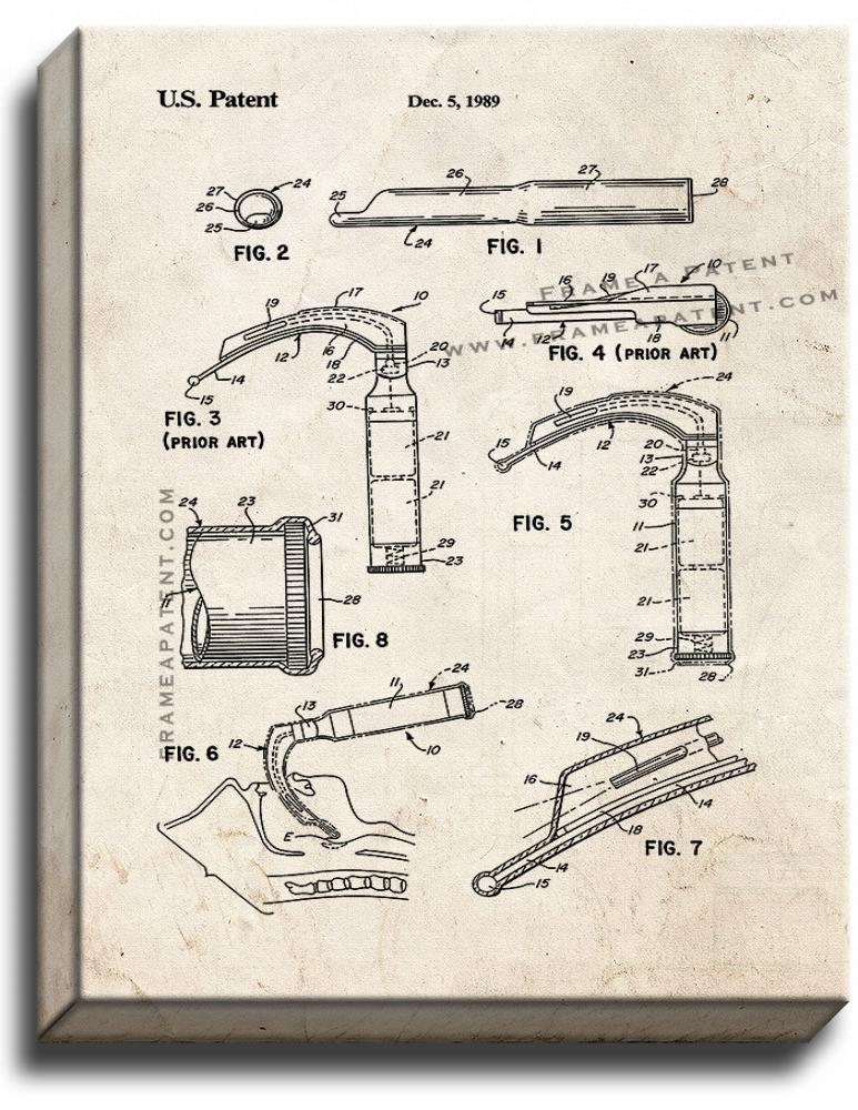 Primary image for Laryngoscope Patent Print Old Look on Canvas