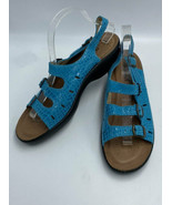 Flexus Spring Step EUR 42 US 10.5 11 Teal Embossed Buckle Sandals Shoes - $49.99