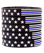100 US Flag Stars and Stripes Wristband Featuring Thin Blue Line - USA B... - $57.99