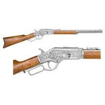 Re-enactors Replica M-1873 ENGRAVED LEVER ACTION RIFLE SILVER FINISH - $229.95