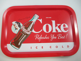 Coca-Cola Red Metal Tin Tray Coke Refreshes You Best  - $6.44
