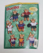 Bucilla Sports Teddy Bears Felt Applique Ornaments #84075 NIP Vintage Football+ - $31.99