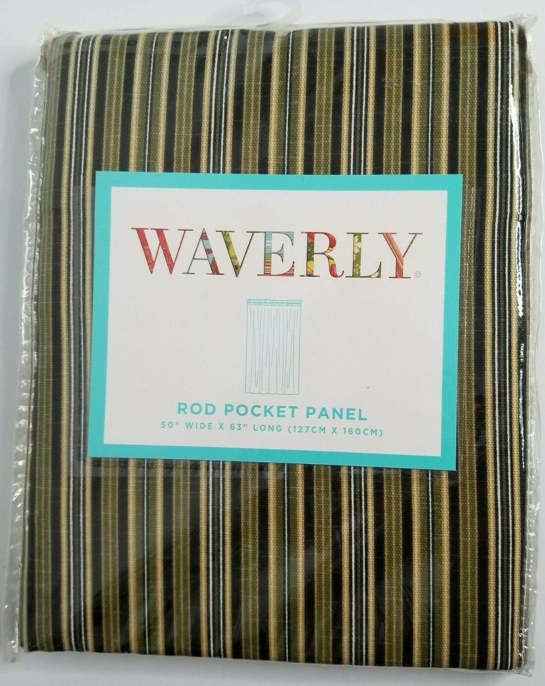 "Primary image for WAVERLY Rod Pocket Panel 50"" X 63"" Palmer Stripe Green Black Brown Curtain NEW"