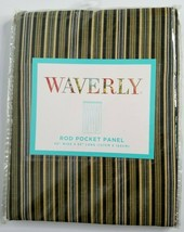 "WAVERLY Rod Pocket Panel 50"" X 63"" Palmer Stripe Green Black Brown Curta... - $24.99"