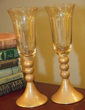 BOMBAY COMPANY CRYSTAL WEDDING TOASTING GLASSES PAIR GOLD BALL STEM MODE... - $29.99