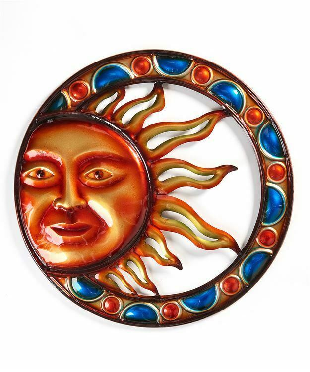 "19.75"" Celestial Iron Astrology Orange Round Sun Face Design Wall Decor"