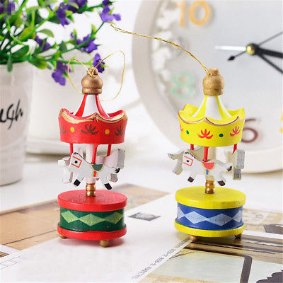 6Pcs Wooden Hanging Carousel Horse Ornament Christmas Valentine's Day Gift Decor