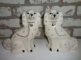 """Vintage pair of stamped Staffordshire England spaniel mantle dogs 9"""" - $372.72"""